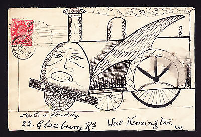 1904 FRONT of cover hand drawn train Locomotive Chelsea to West Kensington Piece