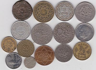 15 Coins From Morocco In Fair Or Better Condition