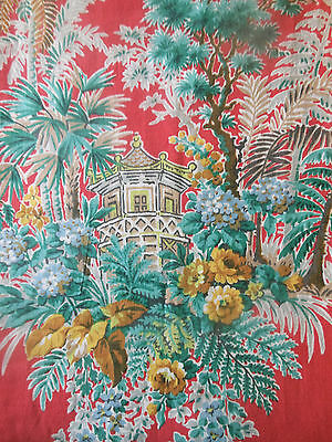 Antique Vintage Chinoisoire Botanical Floral Fern Roses Pagoda Fabric ~ Coral