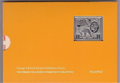 George V British Empire Exhibition Penny Silver Stamp Ingot In Card Flatpack