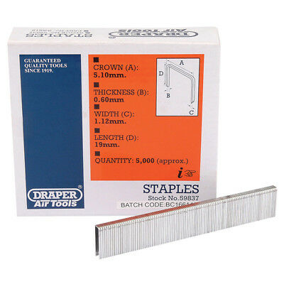 5000 Draper 19mm Staples To Fit For 57555 Air Stapler and 83659 Electric Stapler