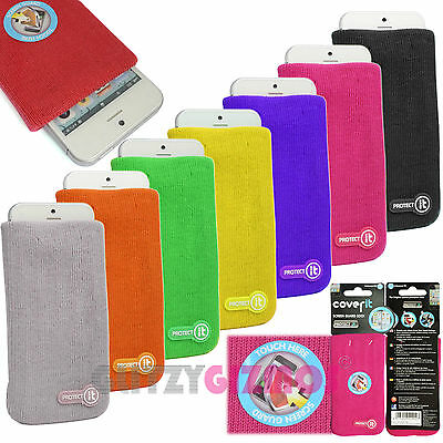 Protect It Soft Sock Cover Case Pouch For Mobile Phones-Built In Screen Guard