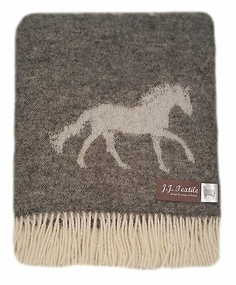High quality warm pure new wool blanket throw - Horse - Soft Grey by JJ Textile