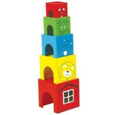 Stacking Tower Boxes Wood Wooden Crates Tower Stack Pintoy