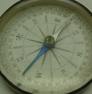 Antique early Victorian paper dial pocket compass