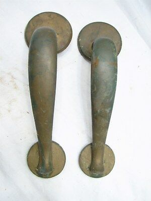 Antique Brass Door Handle Set Pair Pull Industrial Office Architectural