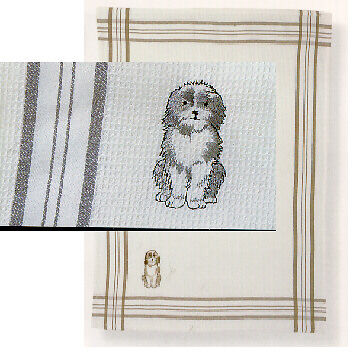 Bearded Collie Beardie Tea Towel 100% Cotton Waffle Weave