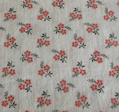 Antique French Small Scale Petite Floral Calico Cotton Fabric ~ black red ~dolls