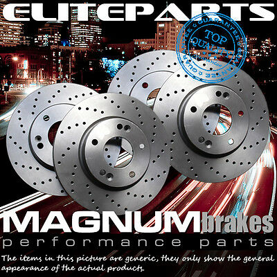 Front+Rear 4 Cross Drilled Rotors for 2007 Dodge Grand Caravan with Rear Disc