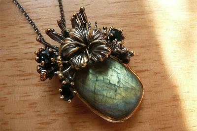 LABRADORITE BLUE SAPPHIRE GOLD PLATED 925 STERLING SILVER PENDANT NECKLACE 20ins