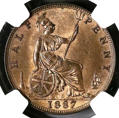 1887 NGC MS 63 RB 1/2 Penny Victoria GREAT BRITAIN Coin (16112301C)