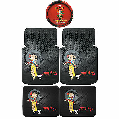 5PC Betty Boop Aloha Front Rear Rubber Floor Mats & Steering Wheel Cover