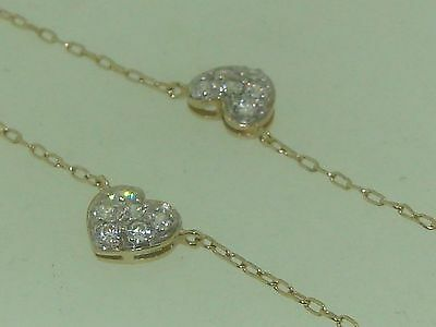 "Beautiful 14K Solid Gold Sparkling Dq Cz Hearts Ankle Bracelet! 11"" Minty"