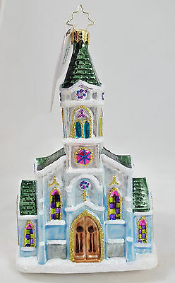 RADKO HEAVENLY HALLS Church Cathedral Christmas Glass Ornament Made in Poland