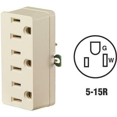 Leviton IVORY 3-to-2 Triple Tap Multi-Outlet Tap 15A/125V