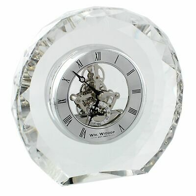 Round Crystal Silver Mantel Clock w Skeleton Dial Roman Numerals