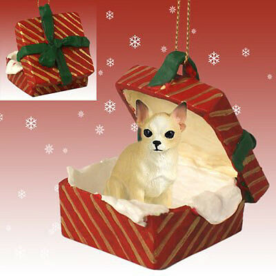 CHIHUAHUA Tan White Dog RED Gift Box Holiday Christmas ORNAMENT