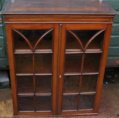Great Looking Old Bookcase Cupboard Top With Adjustable Shelves Has Key