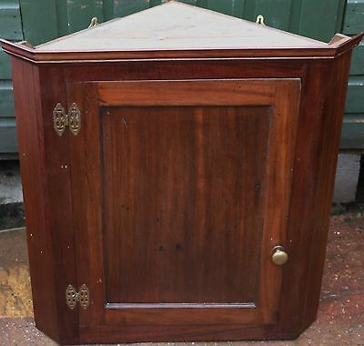 Very Useful Old Wooden Wall Hung Corner Cabinet