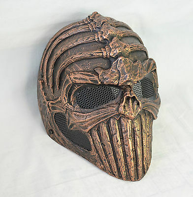 Brown Full Face Wire Mesh Protection Spine Skull Mask Paintball Halloween 032C