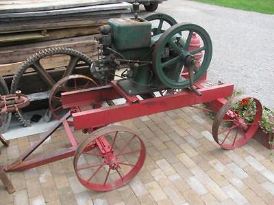 Antique Hit & Miss McCormick Deering Hit & Miss 3 HP Gas Engine w Cart & Crank