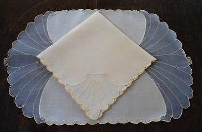 Vintage Madeira Embroidered Yellow Organdy Linen Placemat Napkins Clamshell