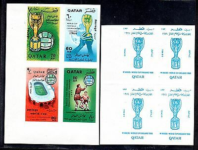 Qatar 1966 World Cup Football Imperf Set In Joint Blocks Unlisted Sg 189-196
