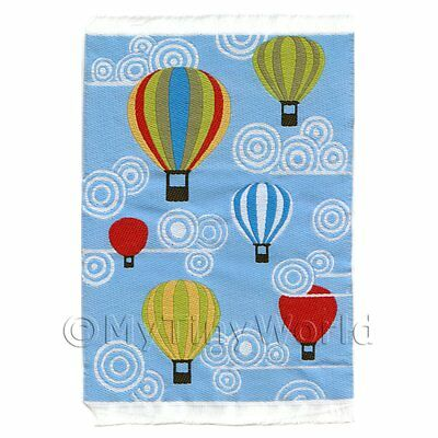 Dolls House Miniature Small Childrens Rug With Hot Air Balloons