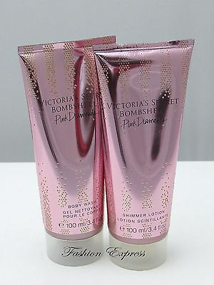 Victoria's Secret BOMBSHELL PINK DIAMONDS SHIMMER LOTION + BODY WASH 3.4 FL Oz