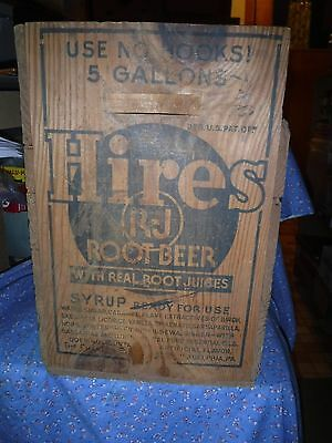 """Vintage Wood Hires Root Beer Syrup Box  15 3/8"""" High  11 x 10 3/8 Inch"""