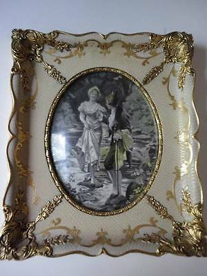 Antique Rare Framed S P Solomons Decorative Art Co. NY Tapestry - Bevel Glass