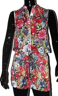 KORALLINE SUIT DUNGAREES SHORT size XS Sm PRINT FLOWERS FABRIC GEORGETTE