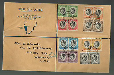 1937 Southwest Africa First Day Cover Complete Coronation Pairs KGVI King George