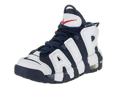 Nike Kids Air More Uptempo Gs White/Mid Nvy/Mtllc Gld/Unvrsty Basketball Shoe