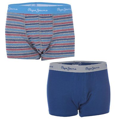 Junior Boys Pepe Jeans Two Pack Dorian Boxer Shorts In Grey Marl