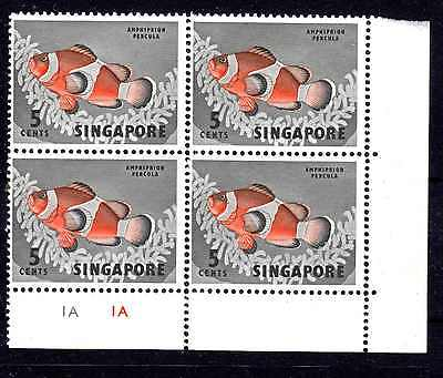 Singapore Qeii C/block Of 4 Mnh Sg84 Sideways Wm Crown Directly Over Ca's (Notes