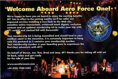 Aerosmith Fan Club Postcard Welcome Aboard Aero Force One