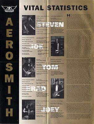 Aerosmith Fan Club Poster Vital Statistics Time Line 1997-99