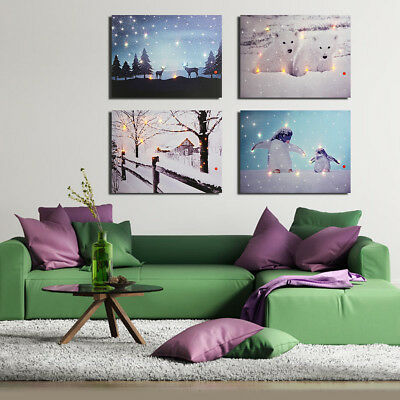 LED Light Up Winter Merry Christmas Canvas Wall Painting Picture Xmas Home Decor