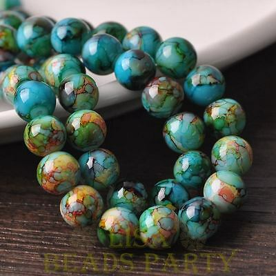 New 15pcs 10mm Round Glass With Color Coated Loose Spacer Beads Green&Blue