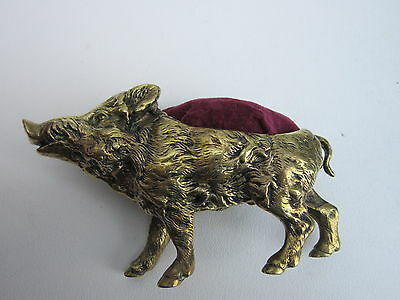 large victorian pincushion wild boar well moulded brass