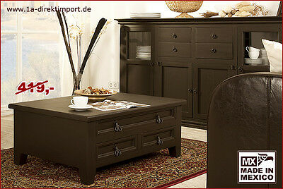 kolonialstil truhentisch couchtisch mexico kolonial pinie massiv schwarz braun picclick de. Black Bedroom Furniture Sets. Home Design Ideas