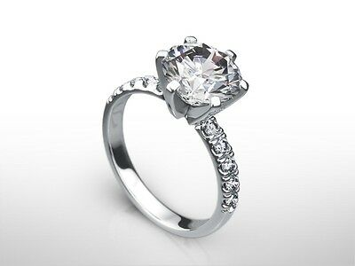 3 Ct Round Cut F/vs2 Enhanced Diamond Solitaire Engagement Ring 14K White Gold