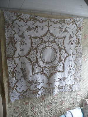 Vintage Madeira hand embroidered square linen tablecloth, original metal tag