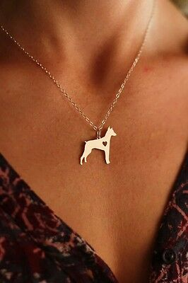 Doberman pendant necklace dog collectible w HEART 0.82