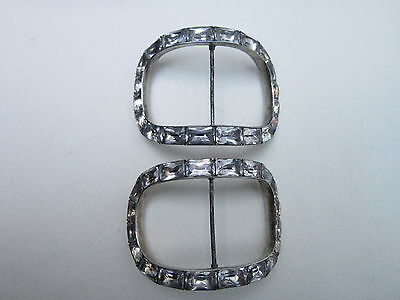 georgian black dot paste pave set shoe buckles silver good condition