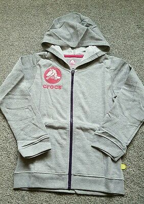 CROCS Girls FULL Zip Hoodie COTTON -  Grey/Raspberry Size 6-7 YEARS. Boden  NEW