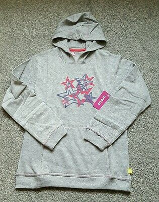 CROCS Girls Pullover Hoodie COTTON - Grey/Pink. Size 8 YEARS. BRAND NEW.