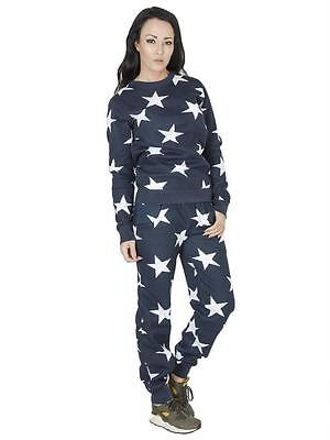 Womens Two Piece Star Print Jogger Tracksuit Jumper Loungewear Set Size 8 10 12