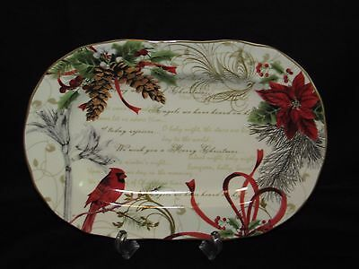 New 222 Fifth Holiday Wishes Fine China Porcelain Seasonal Serving Platter